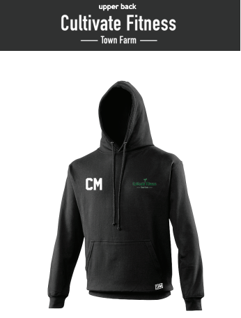 Cultivate Fitness Black Unisex Hoodie (Logo Embroidery, Everything Else Print)