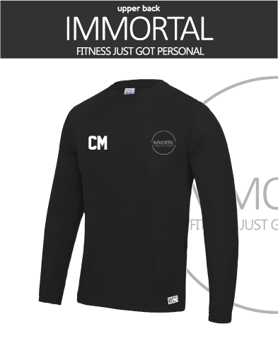 Immortal Fitness Black Mens Long Sleeved Performance Tee (All Print)