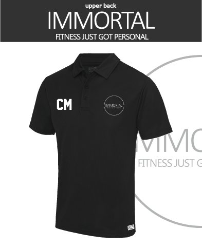 Immortal Fitness Black Womens Performance Polo (Logo Embroidery, Everything Else Print)