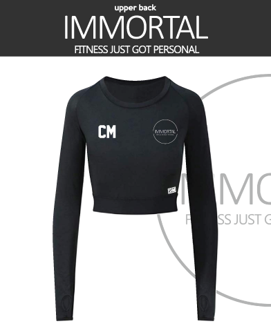 Immortal Fitness Black Womens Long Sleeve Crop Top (All Print)
