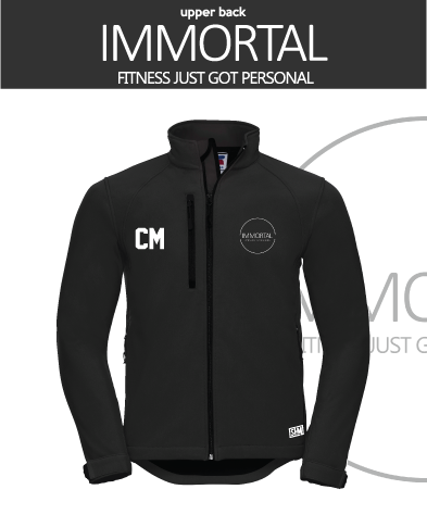 Immortal Fitness Black Mens Softshell (Logo Embroidery, Everything Else Print)