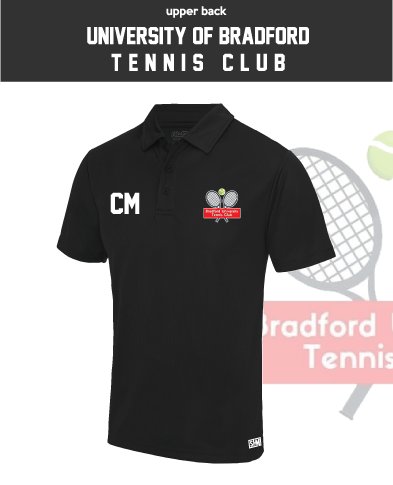 University Of Bradford Tennis Black Mens Performance Polo (Logo Embroidery, Everything Else Print)