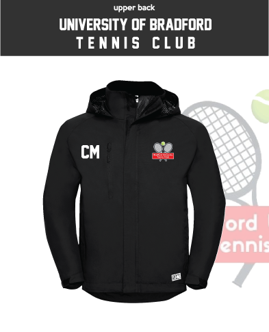 University Of Bradford Tennis Black Womens Hydroplus Jacket (Logo Embroidery, Everything Else Print)