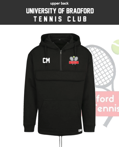 University Of Bradford Tennis Black Mens Pull Over (Logo Embroidery, Everything Else Print)