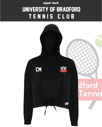 University Of Bradford Tennis Womens Cropped Hoodie (Logo Embroidery, Everything Else Print)