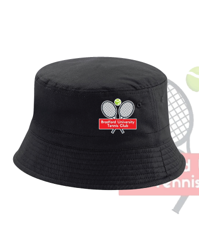 University Of Bradford Tennis Black Bucket Hat (All Embroidery)