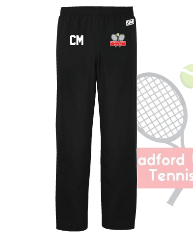 University Of Bradford Tennis Black Mens Trackies (Logo Embroidery, Everything Else Print)