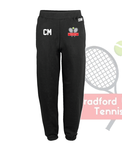 University Of Bradford Tennis Black Mens Sweatpants (Logo Embroidery, Everything Else Print)