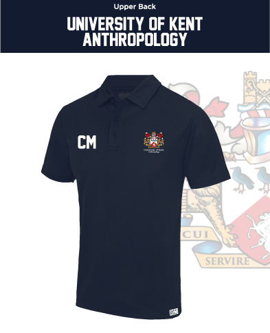Kent University Anthropology Navy Mens Performance Polo (Logo Emb, Everything Else Print)