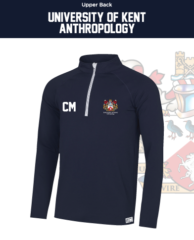 Kent University Anthropology Navy Mens Performance Sweatshirt (Logo Emb, Everything Else Print)
