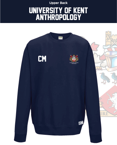 Kent University Anthropology Navy Unisex Sweatshirt (Logo Emb, Everything Else Print)