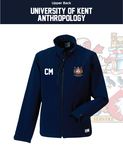 Kent University Anthropology Navy Womens Softshell (Logo Emb, Everything Else Print)