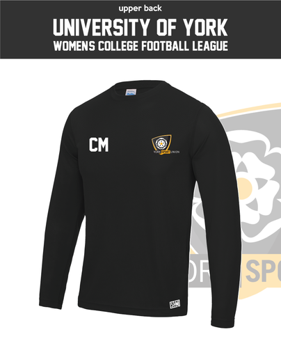 York University Womens Football Long Sleeve Performance Tee (All Print)
