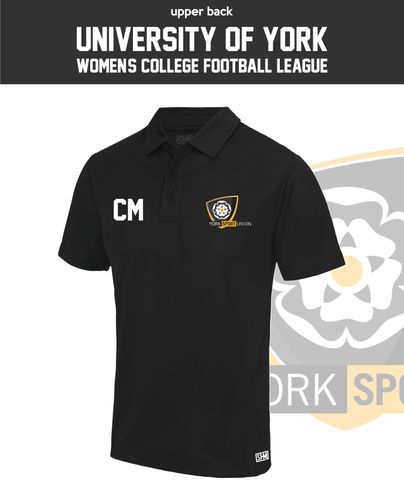 York University Womens Football Performance Polo (Logo Embroidery, Everything Else Print)