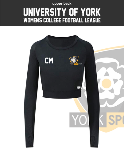 York University Womens Football Long Sleeve Crop Top (All Print)