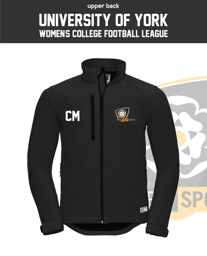 York University Womens Football Black Womens Softshell (Logo Embroidery, Everything Else Print)