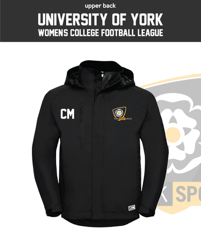 York University Womens Football Black Hydroplus Jacket (Logo Embroidery, Everything Else Print)