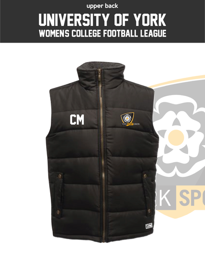 York University Womens Football Black Unisex Gilet (Logo Embroidery, Everything Else Print)