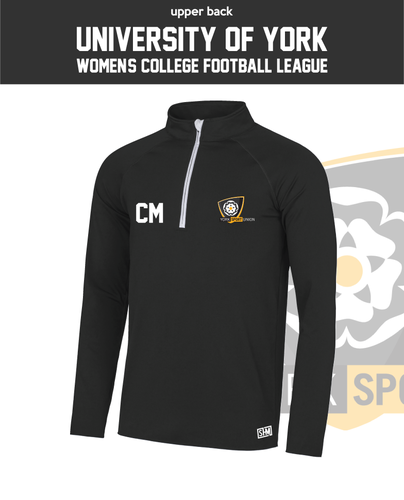 York University Womens Football Black Performance Sweatshirt (Logo Emb, Everything Else Print)