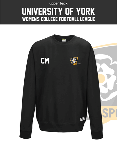 York University Womens Football Black Unisex Sweatshirt (Logo Embroidery, Everything Else Print)