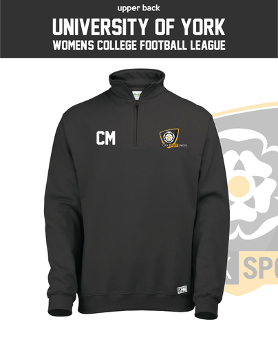 York University Womens Football Black Unisex 1/4 Zip Sweatshirt (Logo Emb, Everything Else Print)