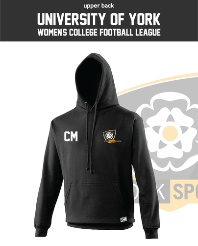 York University Womens Football Black Unisex Hoodie (Logo Embroidery, Everything Else Print)