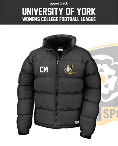 York University Womens Football Black Unisex Puffa (Logo Embroidery, Everything Else Print)