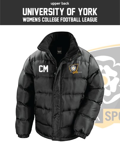 York University Womens Football Black Unisex Fleece Lined Puffa (Logo Emb, Everything Else Print)