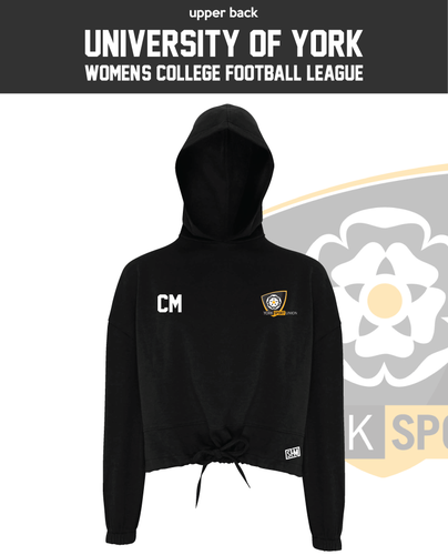 York University Womens Football Black Cropped Hoodie (Logo Emb, Everything Else Print)