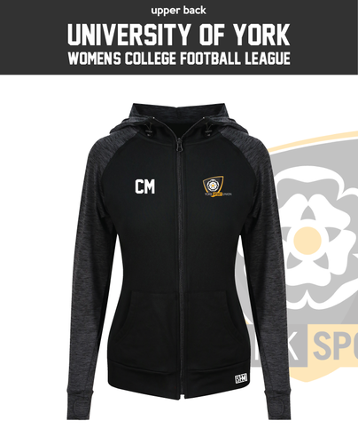 York University Womens Football Black Contrast Hoodie (Logo Embroidery, Everything Else Print)