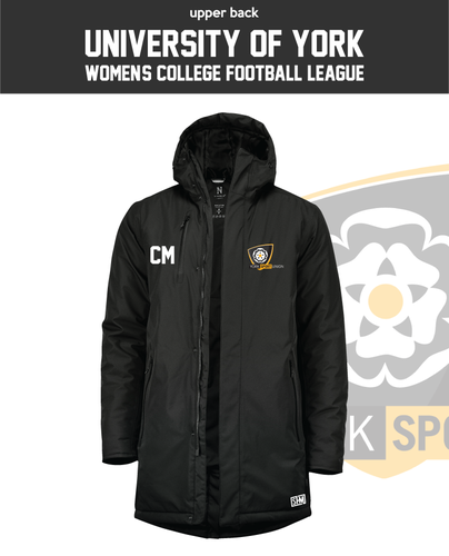 York University Womens Football Black Unisex Sub Jacket (Logo Emb, Everything Else Print)