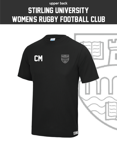 University Of Stirling Womens Rugby Black Performance Tee (All Print)