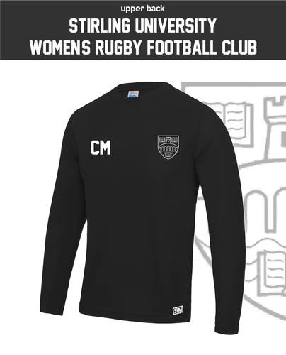 University Of Stirling Womens Rugby Black Long Sleeve Performance Tee (All Print)