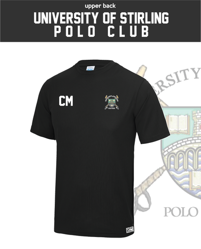 Stirling University Polo Black Mens Performance Tee (All Print)
