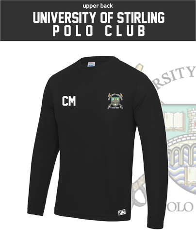 Stirling University Polo Black Mens Long Sleeve Performance Tee (All Print)