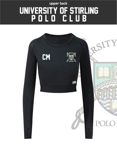 Stirling University Polo Black Womens Long Sleeve Crop Top (All Print)
