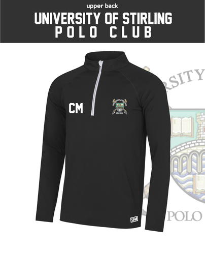 Stirling University Polo Black Mens Performance Sweatshirt (Logo Embroidery, Everything Else Print)
