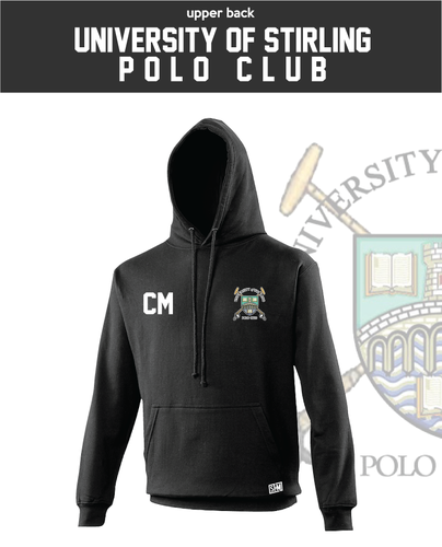 Stirling University Polo Black Unisex Hoodie (Logo Embroidery, Everything Else Print)
