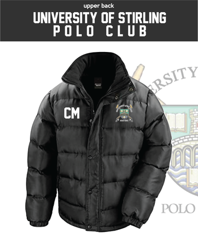 Stirling University Polo Black Unisex Fleece Lined Puffa (Logo Embroidery, Everything Else Print)