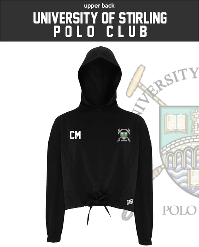Stirling University Polo Black Womens Cropped Hoodie (Logo Emb, Everything Else Print)