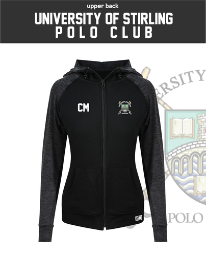 Stirling University Polo Black Womens Contrast Hoodie (Logo Embroidery, Everything Else Print)