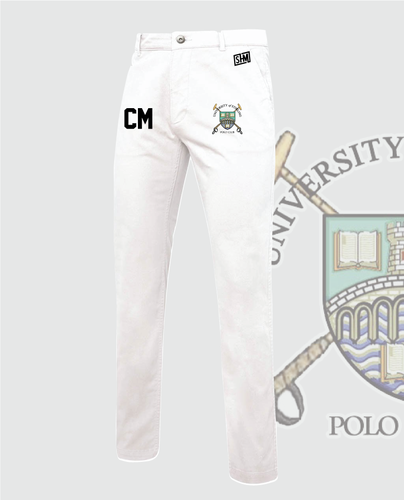 Stirling University Polo Mens Whites (Logo Embroidery, Everything Else Print)