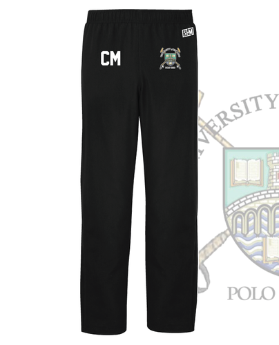 Stirling University Polo Black Mens Trackies (Logo Embroidery, Everything Else Print)