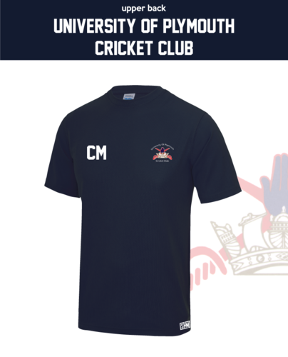 University Of Plymouth Cricket Mens Navy Performance Tee (All Print)
