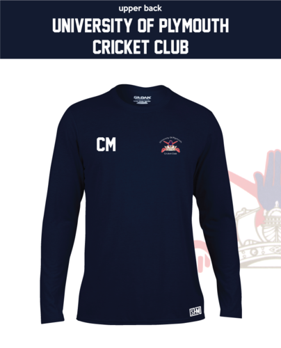 University Of Plymouth Cricket Mens Navy Long Sleeve Performance Tee (All Print)