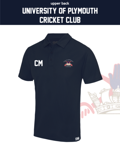 University Of Plymouth Cricket Navy Mens Performance Polo (Logo Emb, Everything Else Print)