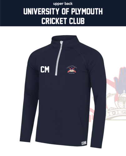 University Of Plymouth Cricket Navy Mens Performance Sweatshirt (Logo Emb, Everything Else Print)