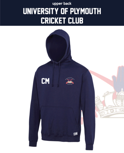University Of Plymouth Cricket Navy Unisex Hoodie (Logo Emb, Everything Else Print)