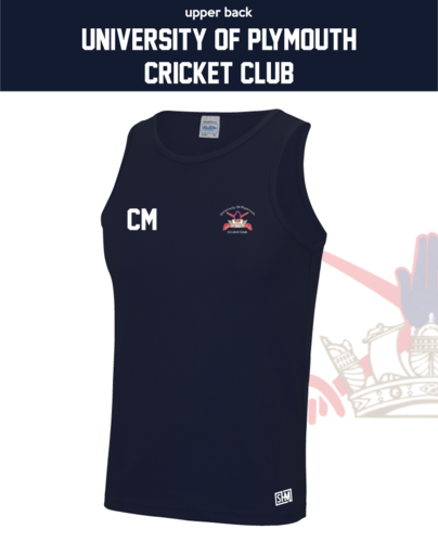 University Of Plymouth Cricket Navy Unisex Performance Vest (All Print)
