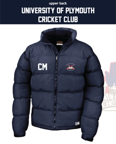 University Of Plymouth Cricket Navy Unisex Puffaf (Logo Emb, Everything Else Print)